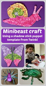 Easy Mininbeast craft using a shadow stick puppet template from Twinkl, water-colour paints or decopatch paper