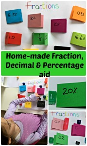 Home-made learning aid for fractions, decimals and percentages. Making maths fun