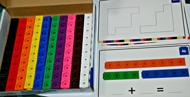 Mathlink Cube Starter Set from Learning Resources includes 100 cubes and 15 double sided activity cards