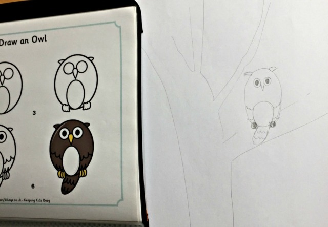 Using the Activity Village How to Draw an Owl to create a picture