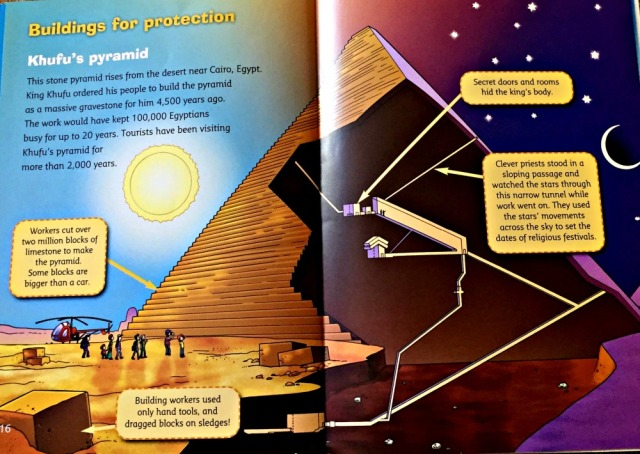 What's that Building includes a page on Khufu's pyramid with a short paragraph and stunning illustrations