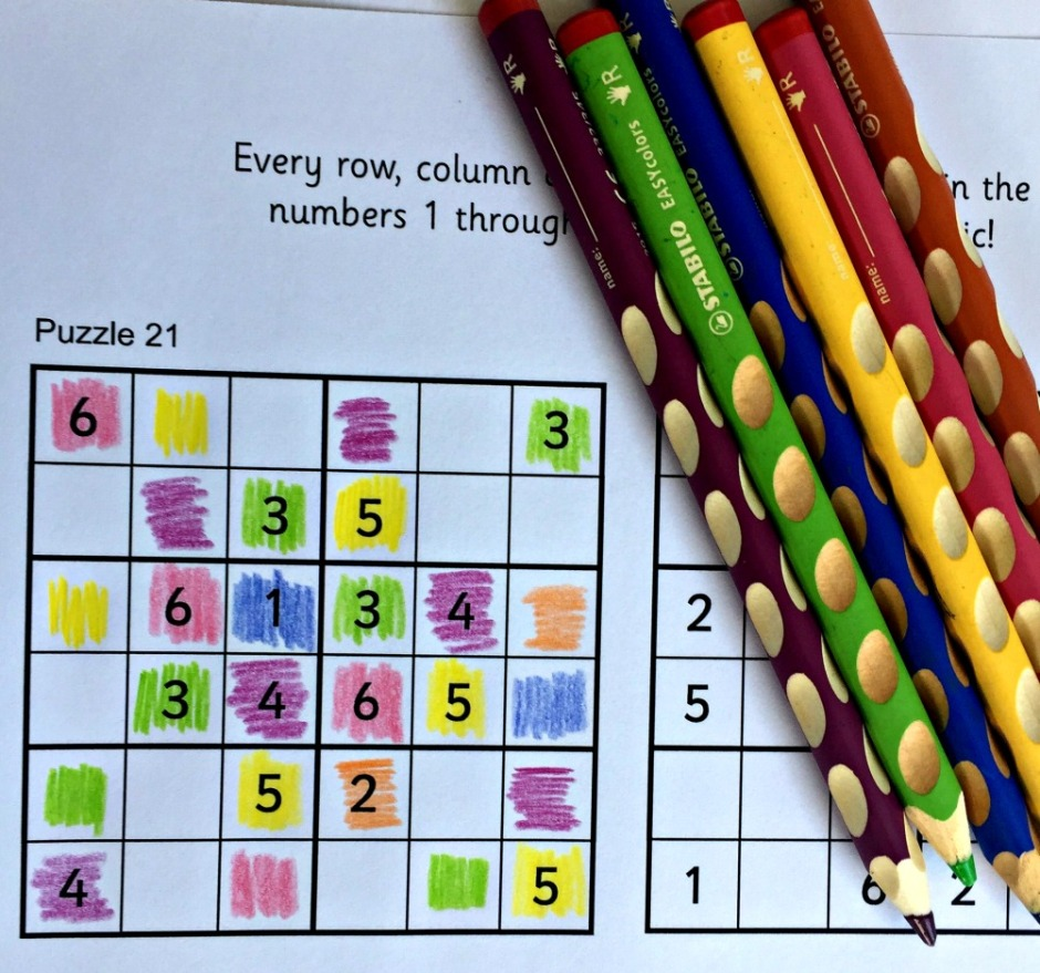 An Activity Village for kids Sudoku puzzle solved used coloured pencils