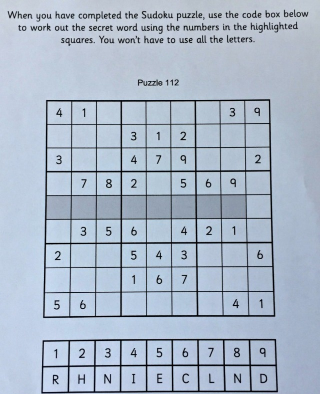 Sudoku for Kids from Activity Village includes some hidden code puzzles