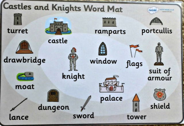 Castle and Knights Word Mat free to download from Twinkl Resources. great tool to help younger kids write words that they are uncertain of