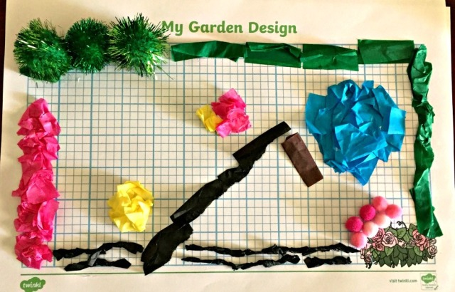 Twinkl Design a garden activity using tissue paper and craft pom poms