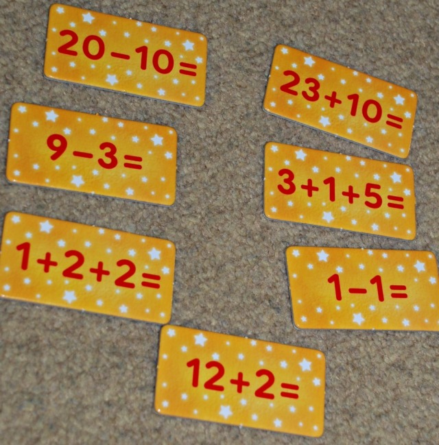 Magic Maths by Orchard Toys. some examples of the sum cards included in the game