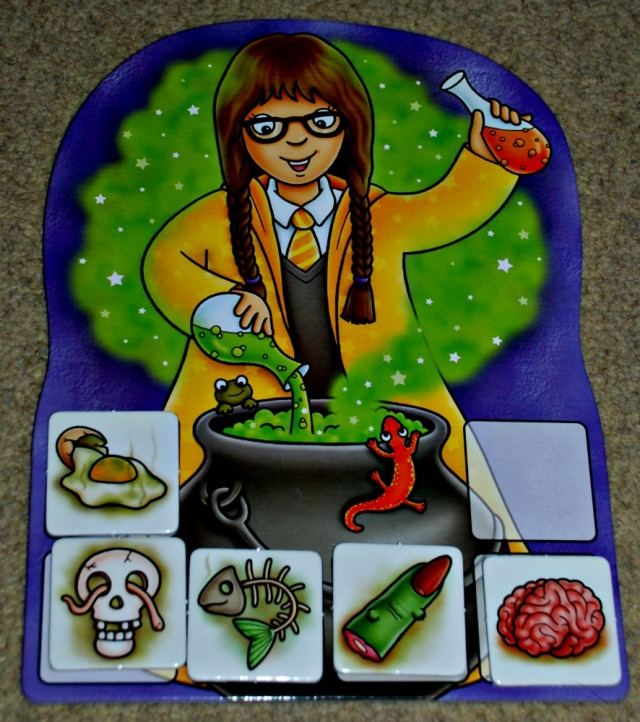 Magic Maths game by Orchard Toys. The aim is to fill your board with ingredients by answering some maths sums