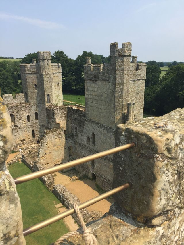 Bodiam Castle. The view from a tower over the inside of the castle