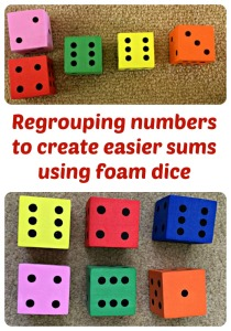 Regrouping the numbers to create an easier sum using foam dice