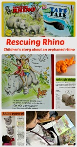 Rescuing Rhino. A children's book which includes a sweet fictional story about an orphaned rhino. facts about wild animals and some fun rhino crafts