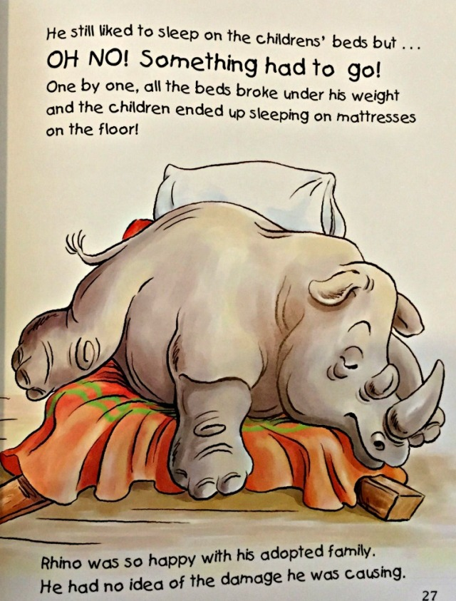Rescuing Rhino a sweet children's story about an orphaned rhino who is rasied by a family and later released
