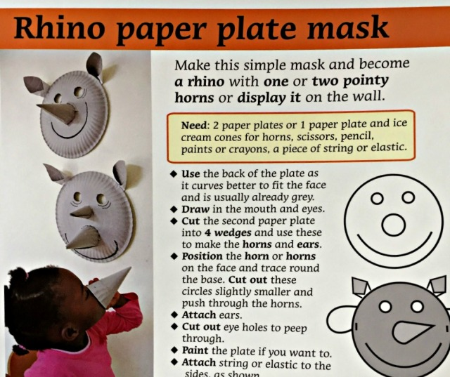 Rescuing Rhino a sweet children's book which also includes some craft ideas like this paper plate rhino mask