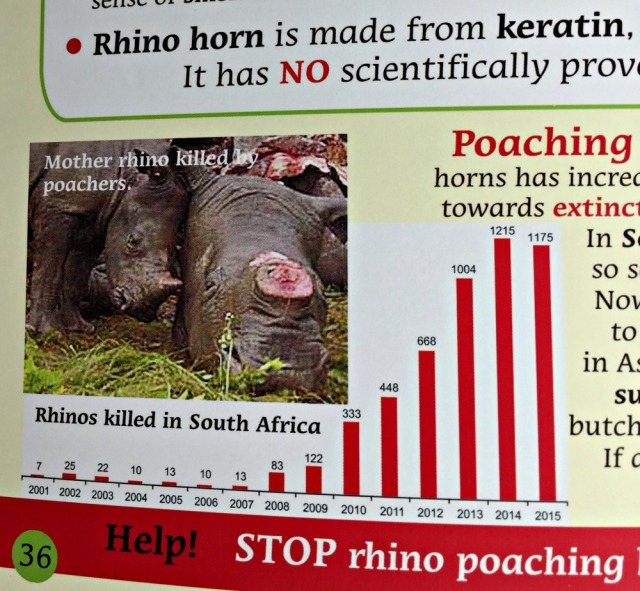 Rescuing Rhino deals with the topic of orphaned wild animals and does include an images of a few poached wild animals