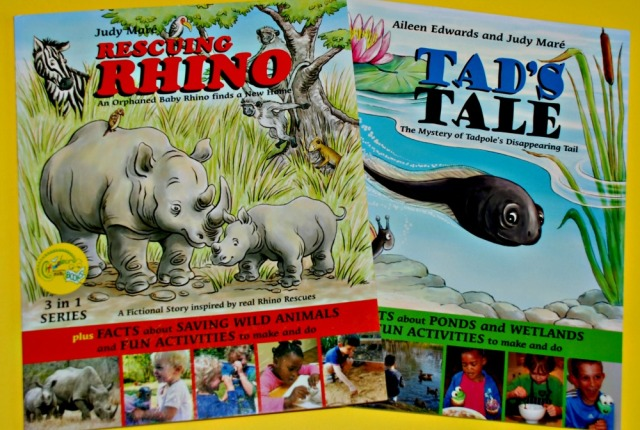 Rescuing Rhino and Tad's Tale. Children's books which include sweet fictional stories, facts about the animals and some craft ideas