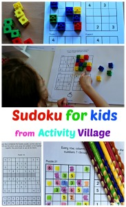 Sudoku for puzzles from Activity Village. 70 pages of puzzles starting at easy 4x4 puzzles and gradually building up to difficult 9x9 puzzles