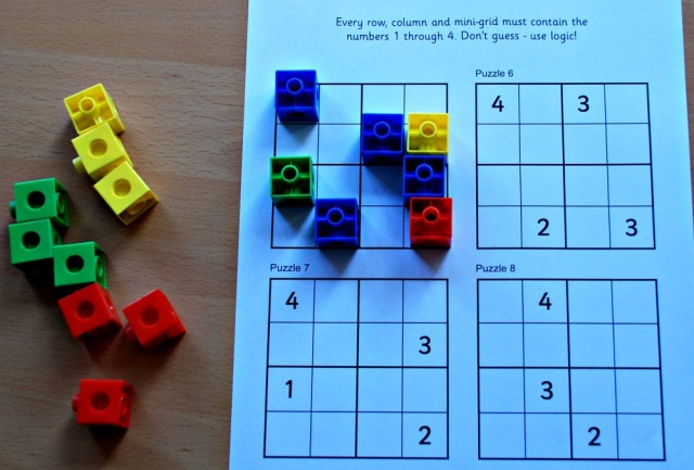 Sudoku For kids explained using snap cubes to represent the different numbers