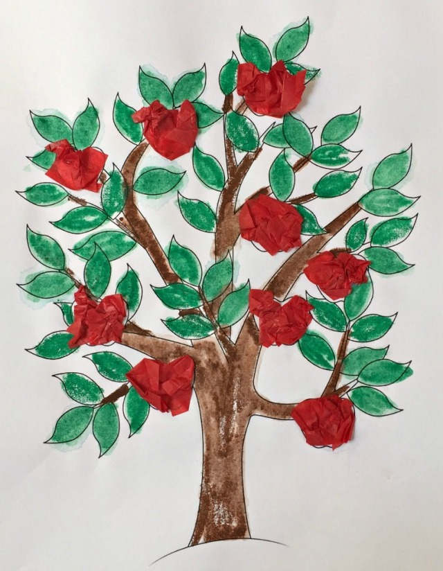 Activity Village apple tree colouring page done with water colour pencils and tissue paper as the apples
