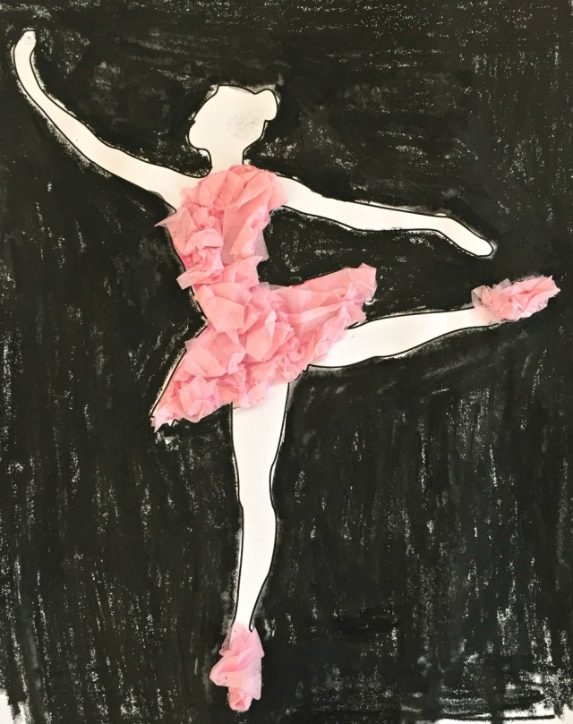 Activity Village Ballerina template with pink tissue paper added for details