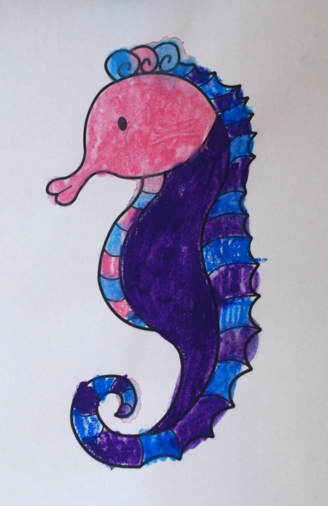 Activity Village Seahorse colouring page done with water colour pencils