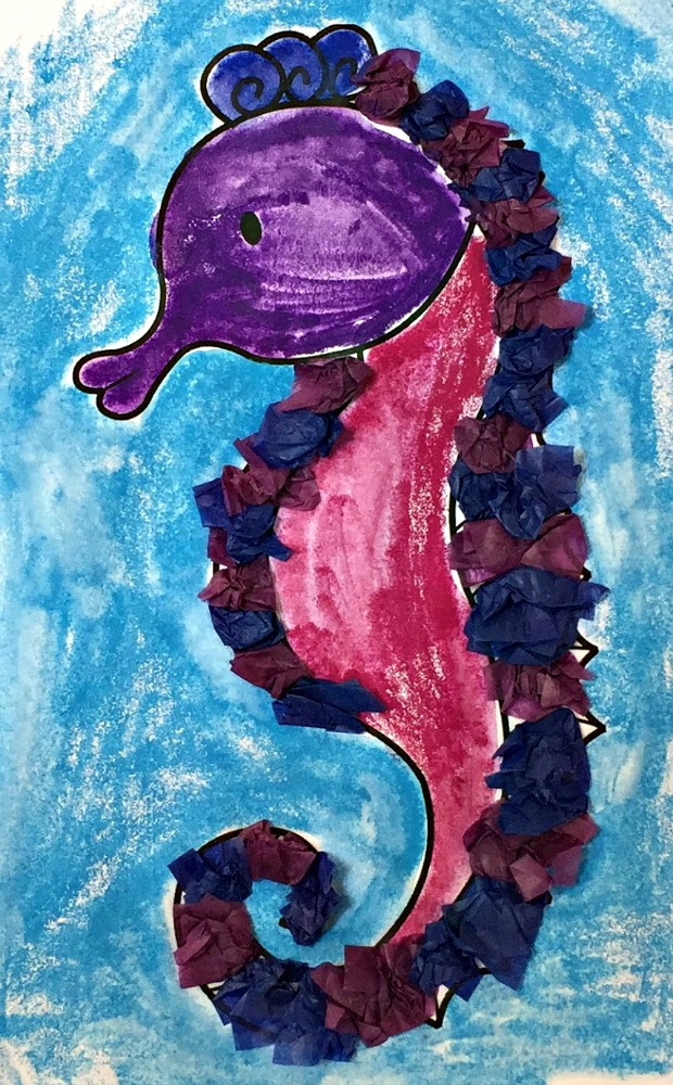 Activity Village Seahorse colouring page completed with watercolour pencils and with tissue paper added to give texture