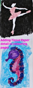 Adding Tissue paper Detail to colouring pages. Perfect for kids enjoy crafting activities