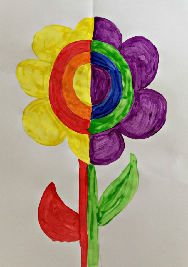 Complementary Colour Flower Painting. Split the flower in half and paint each half with complementary colours