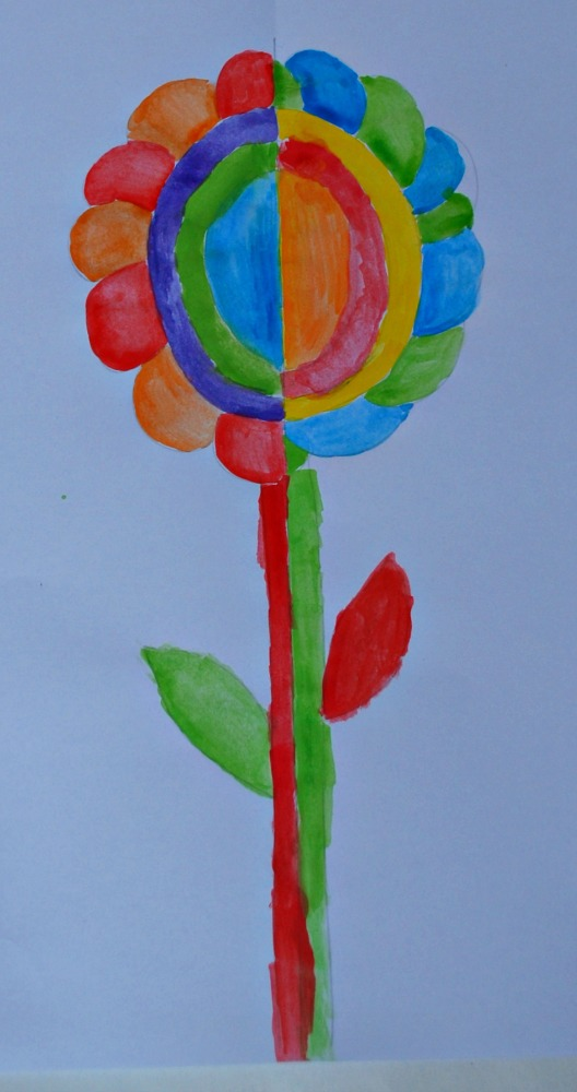 Mixed up complementary colour flower