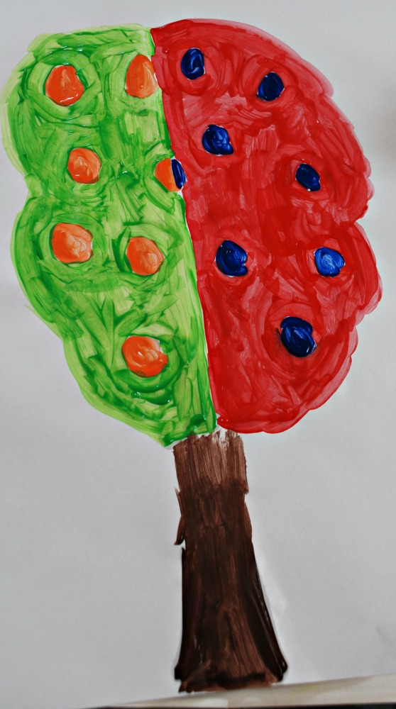Complementary Tree painting by young kids.