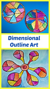 Dimensional Outline Art project for children from Paint lab for kids.  Stained glass window project