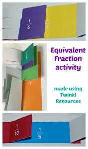 Equivalent Fraction activity. Made by children learning about equivalent fractions using pages from Twinkl Resources