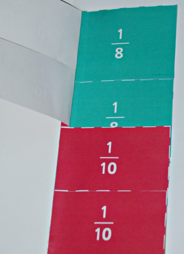 Equivalent Fraction aid for one-half includes four-eigths and five-tenths. Made using Twinkl pages