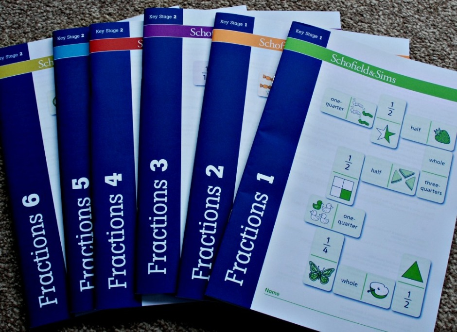 Schofield & Sims series Fractions for Key stages 1 and key Stages 2 based on the UK Curriculum