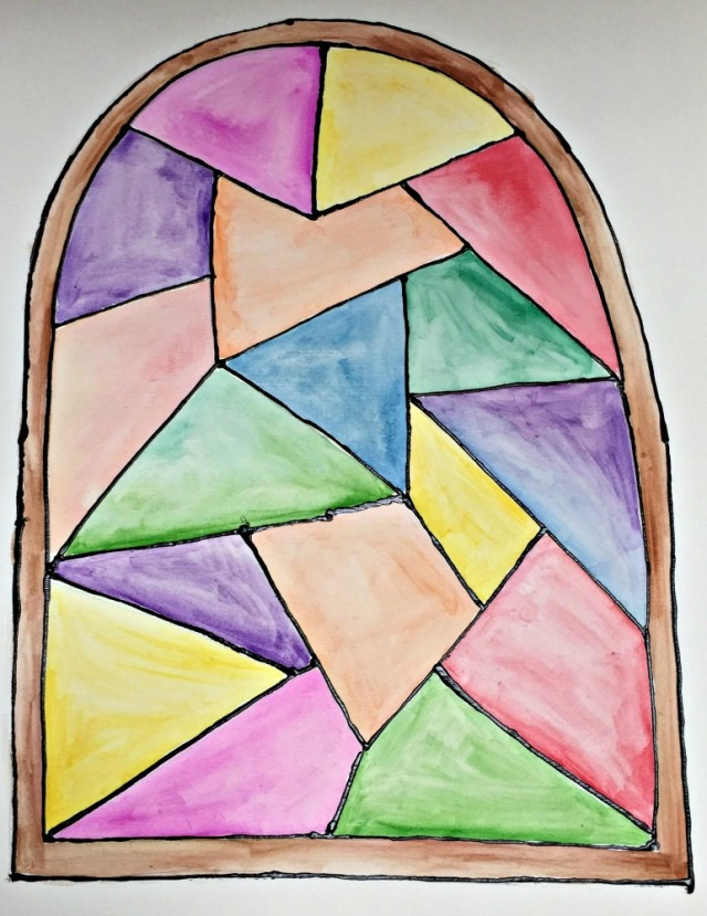Stained glass window ainting activity for children.
