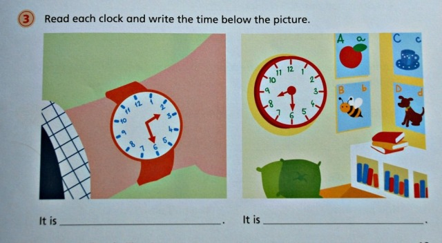 Telling Time 1 by Schofield & Sims contains lots of examples of o'clock, half past, quarter past, quarter to