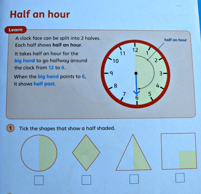 Telling the Time 1 by Schofield & Sims explains o'clock, half past, quarter past and quarter to