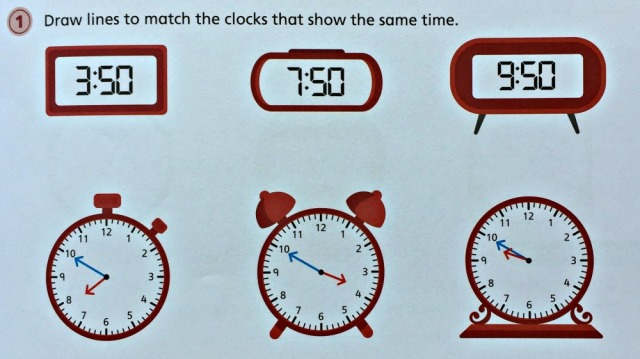 Telling the Time 2 workbook by Schofield & Sims contains practice in matching analogue time to digital time