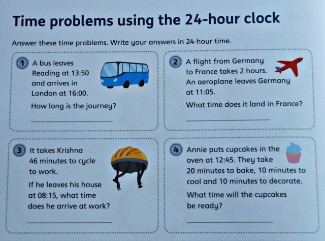Telling the Time 3 by Schofield & Sims contains a number of different time problems