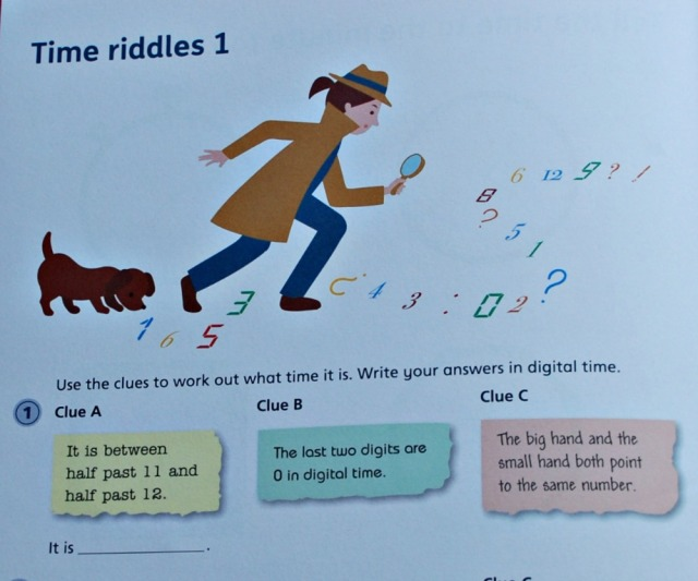 Telling the Time 3 by Schofield & Sims. One of the time riddles included in the book