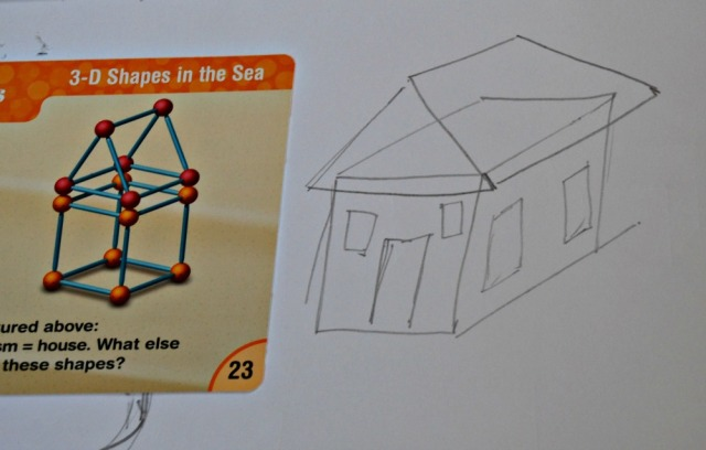 3D shape drawing for kids. Using the shape cards from Dive Into Shapes to create dimensional houses