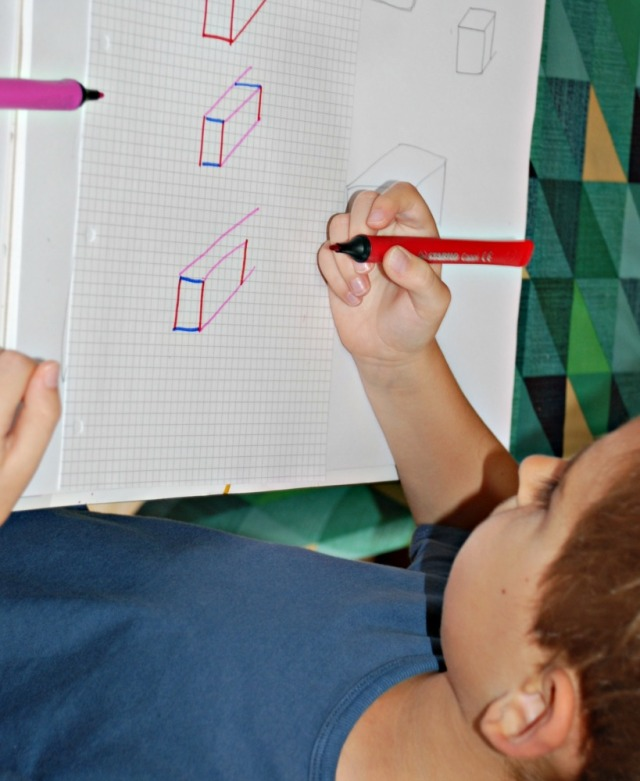 3D shape drawing using graph paper to coloured lines to help the kids get the direction of the lines correct