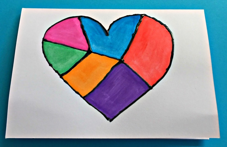 Dimensional Paint Birthday Card created by children, a colourful heart design