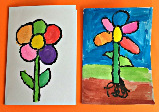 Dimensional paint birthday cards created by children. A flower design