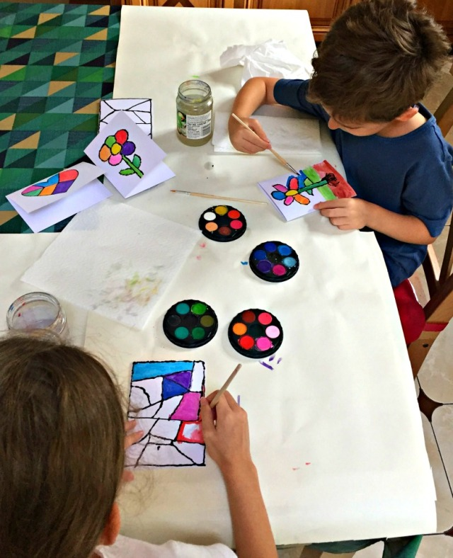 Birthday card activity for kids. Using dimensional paint to create a design and then filling it in with water colour paints