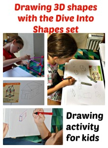 Drawing 3 dimensional shapes with the helpd of their Learning Resources Dive into Shapes set.  Great drawing activity for children