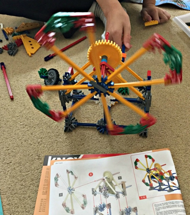 K'NEX Educational Gears set. The kids loved that the builds they created actually worked and they could spin the blades