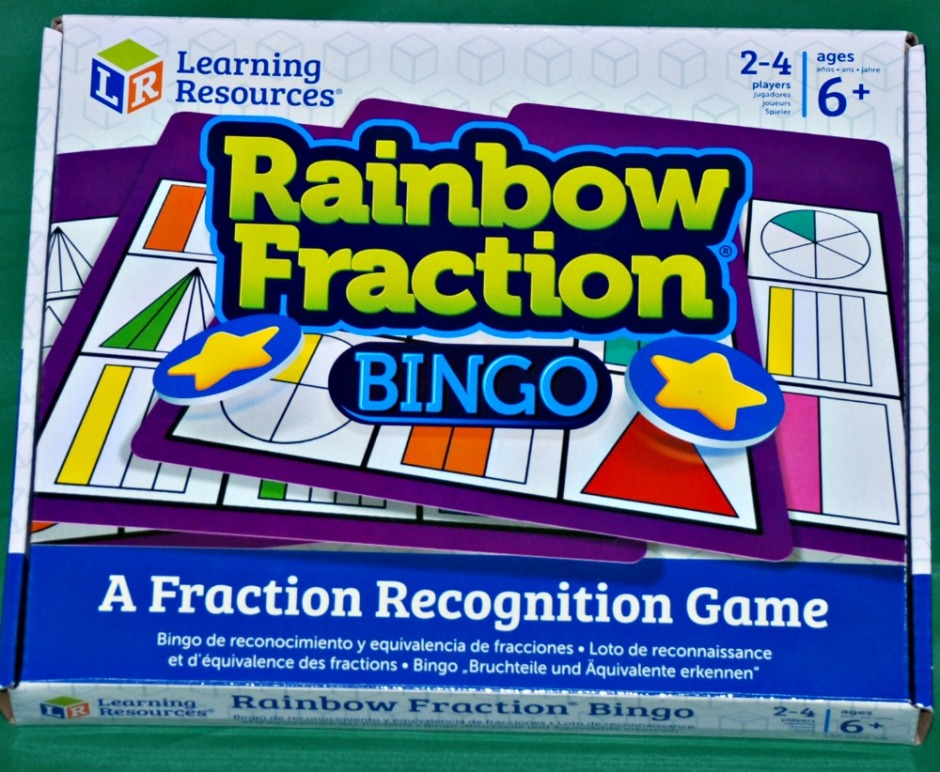 Learning Resources Rainbow Fraction Bingo game comes with two levels