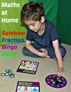 Maths practice at Home with the Rainbow Fraction Bingo Game from Learning Resources