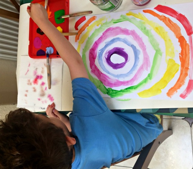 Paint lab for kids book. After finishing the painting activity in the book my kids would often continue painting and try their own versions of the art activity