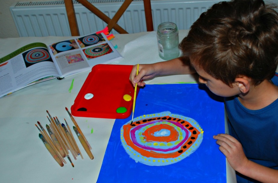 Paint lab for kids book. Doing the Clean and Bright Acrylics activity