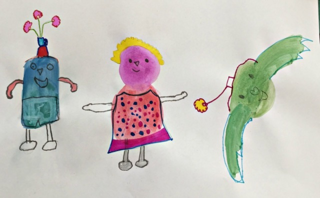 Watercolour Blob Characters from the paint Lab for kids book